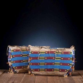 Cheyenne Beaded Hide Possible Bags, Matched Pair