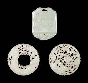Three Carved Celadon Jade Plaques
