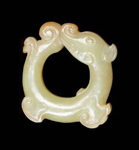 A Yellow Jade Dragon-Form Pendant
