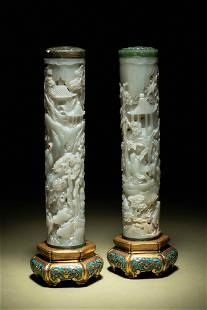 A Pair of Carved Celadon Jade Cylindrical Parfumiers