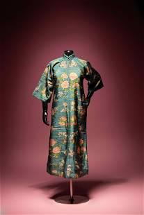 A Jade Green Ground Kesi Silk Lady's Robe, Cheongsam