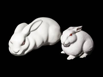 Two Ceramic Figures of Rabbits