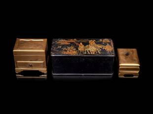 Three Gilt Lacquer Scholar's Objects
