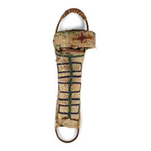 Apache Beaded Hide Doll Cradle, with Doll