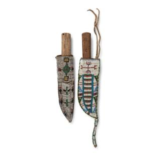 Sioux Beaded Hide Knife Sheaths, with Knives