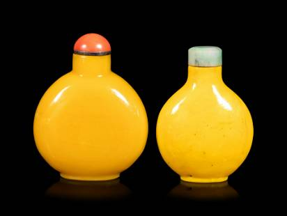 Two Chinese Oqaque Yellow Glass Snuff Bottles