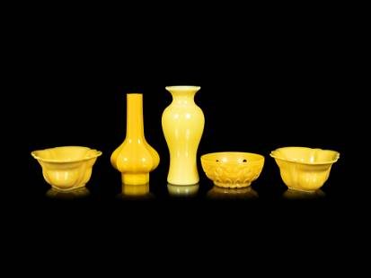 Five Chinese Opaque and Semi-Opaque Yellow Glass