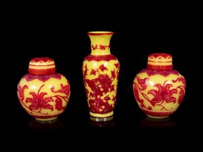 Three Chinese Red Overlay Yellow Glass Articles