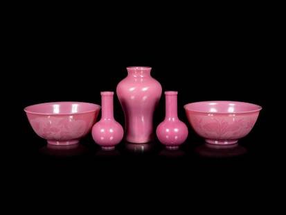 Five Chinese Opaque Pink Glass Articles