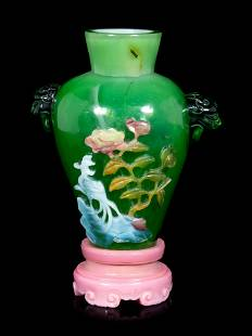 A Chinese Multi-Colored Overlay Transparent Green Glass