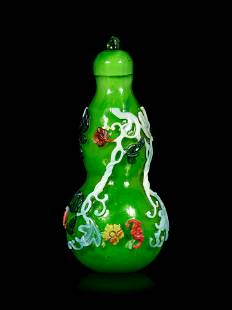 An Unusual Chinese Five Color Overlay Transparent Green