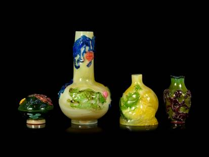 Four Chinese Transparent Five Color Overlay Glass