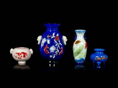 Four Chinese Polychrome Overlay Glass Articles