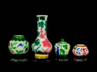 Four Chinese Multi-Colored Overlay Translucent White