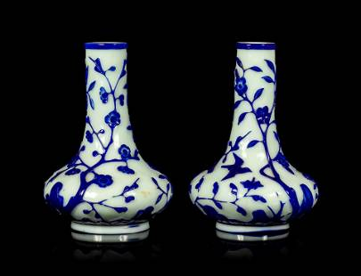 A Pair of Chinese Blue Overlay Opaque White Glass