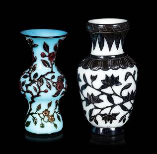 Two Chinese Black Overlay Glass Vases