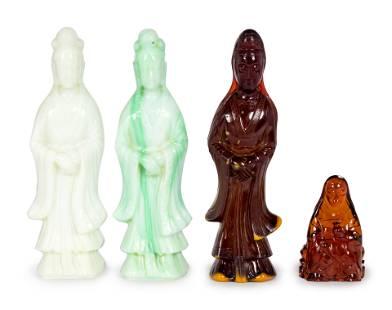 Four Chinese Glass Figures of Guanyin