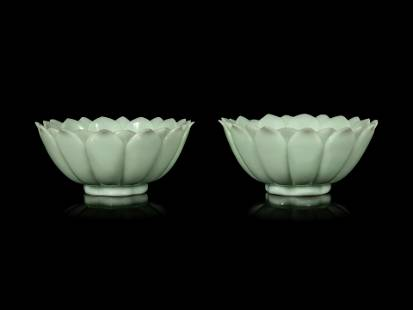A Pair of Chinese Celadon Glass 'Lotus' Bowls