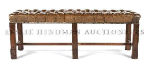 A Chippendale Style Mahogany and Leather Bench, Height
