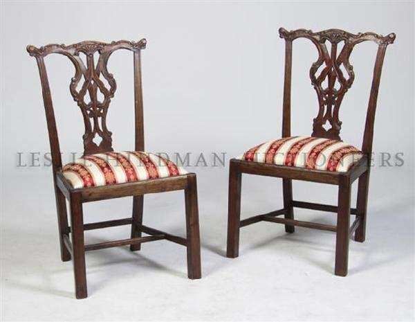 A Pair of Chippendale Style Side Chairs, Height 39 inch