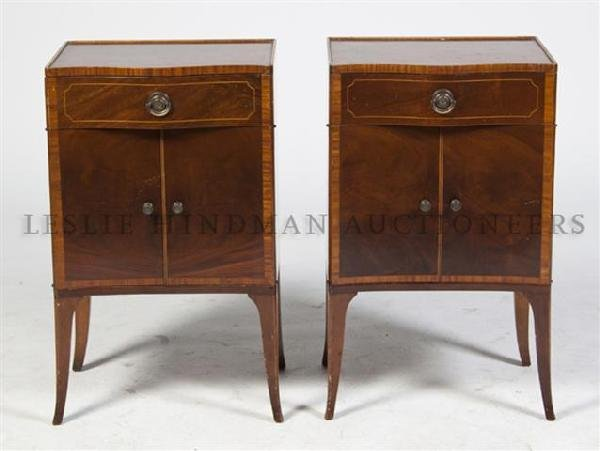A Pair of Georgian Style Mahogany Side Cabinets, Height