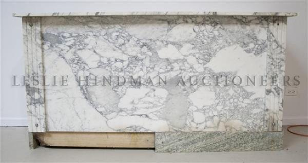 A French Calcutta Marble and Veneered Bar, Height 37 x