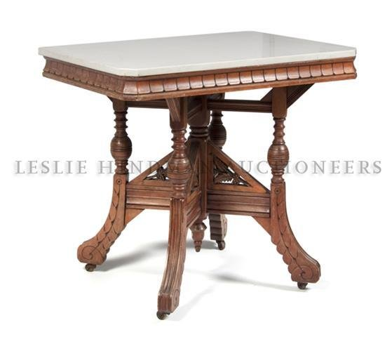 A Late Victorian Marble and Walnut Occasional Table, He