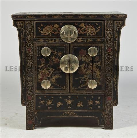 A Chinese Polychrome and Parcel Gilt Chest, Height 34 1