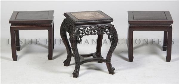 A Pair of Chinese Hardwood Stands, Height of first 17 1