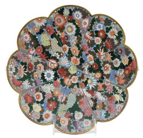 A Japanese Cloisonne Charger, Diameter 11 7/8 inches.