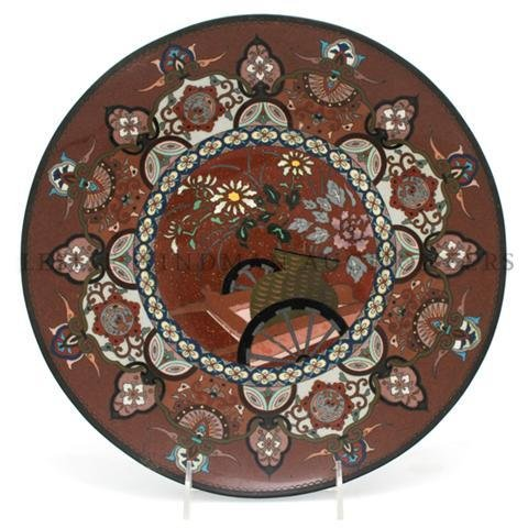 A Japanese Cloisonne Charger, Diameter 11 1/4 inches.