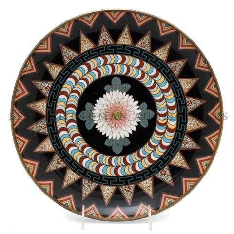 A Japanese Cloisonne Charger, Diameter 12 inches.