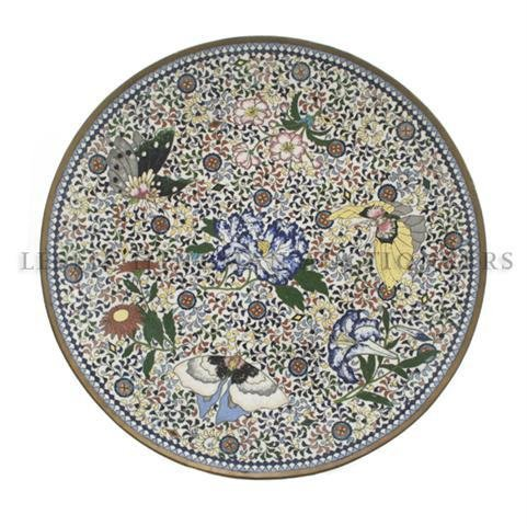 A Japanese Cloisonne Charger, Diameter 18 inches.