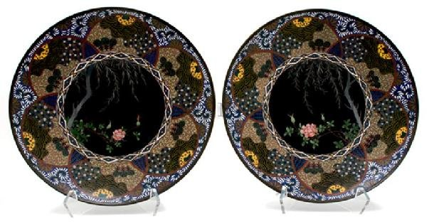 A Pair of Japanese Cloisonne Chargers, Diameter 11 5/8