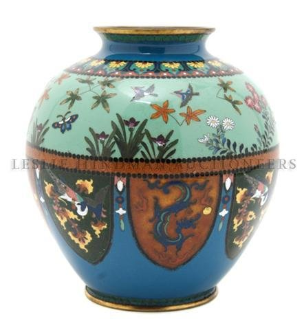 A Japanese Cloisonne Vase, Height 7 inches.