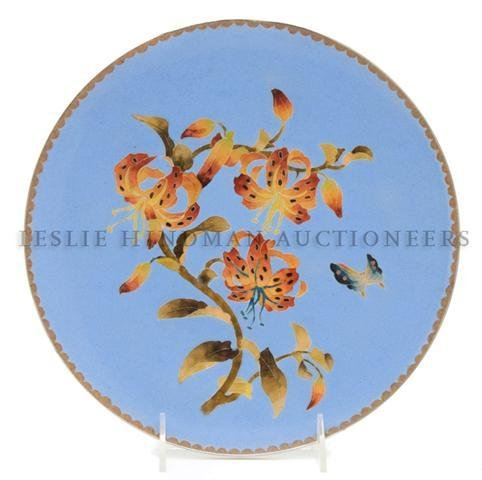 A Japanese Cloisonne Charger, Diameter 10 1/8 inches.