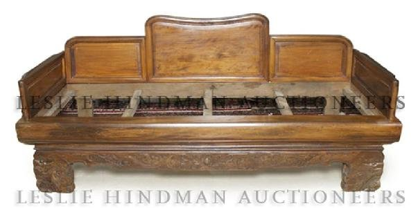 A Chinese Elm Day Bed, Width 77 1/4 inches.
