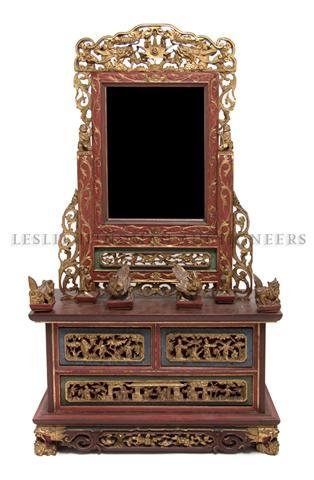 A Chinese Lacquered Parcel Gilt Dressing Mirror, Height