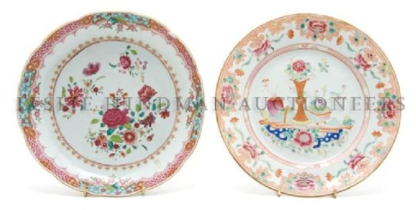 A Group of Two Chinese Export Plates, Diameter of first