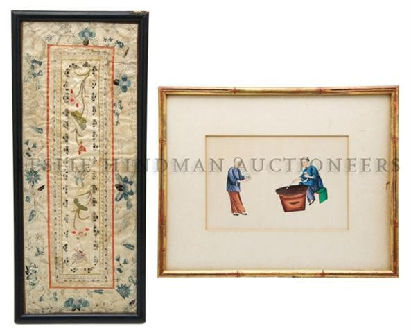 A Group of Two Embroidery and Pith Paintings, Height of