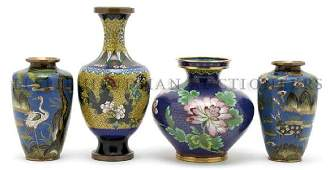 A Collection of Four Japanese Cloisonne Vases, Height o