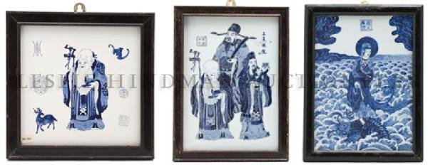 A Group of Three Asian Blue and White Porcelain Plaques