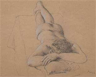 John Koch (American, 1909-1978) Foreshortened Figure,