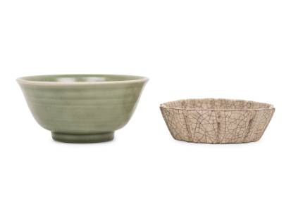 Two Chinese Monochrome Glazed Porcelain 'Foliate'