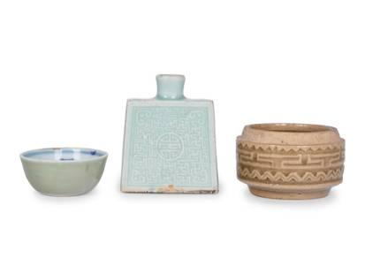 Three Chinese Celadon Glazed Porcelain Articles
