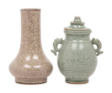 Two Chinese Monochrome Glazed Porcelain Vases