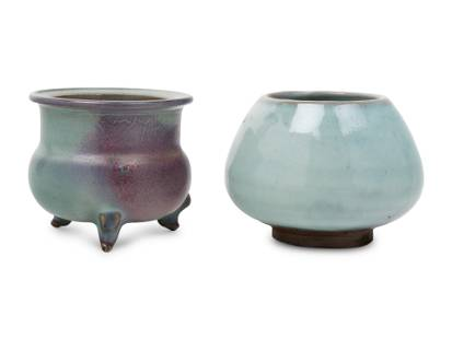 Two Chinese Jun Glazed Porcelain Vessels