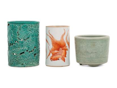 Three Chinese Porcelain Brushpots, Bitong