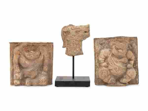 Three Chinese Grey Stone Carvings