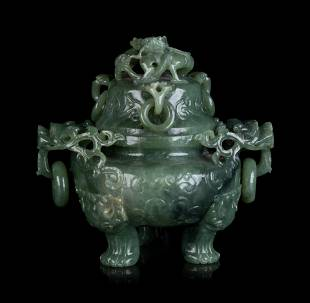 A Chinese Celadon Jadeite Incense Burner and Cover